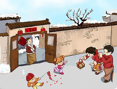 新年春节拜年插画图片