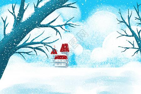 二十四节气冬至大雪冬季雪景治愈系小清新插画图片