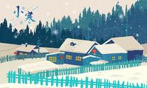 冬季飘雪乡村风光图片