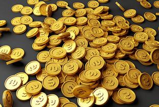 散落的金币图片