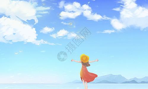 看海的女孩图片