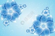 蓝色唯美花纹印花矢量图图片
