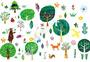 森林树木花鸟元素图片