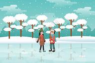 冬日孩子溜冰插画图片