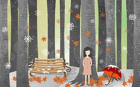 冬季落叶女孩图片