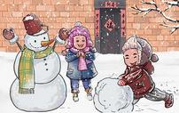 堆雪人的小朋友图片