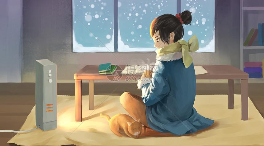 冬天坐在暖器旁的女孩图片