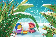 冬季雪景治愈系小清新插画图片