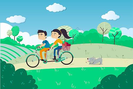 情侣户外骑行插画图片