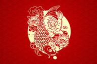 红色喜庆新年剪纸风格背景图片