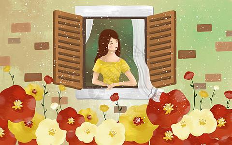 窗户前的女孩图片