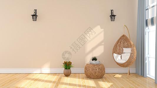 简约清新室内吊椅家居背景图片