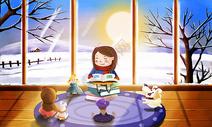 雪天在室内玩耍看书的女孩图片