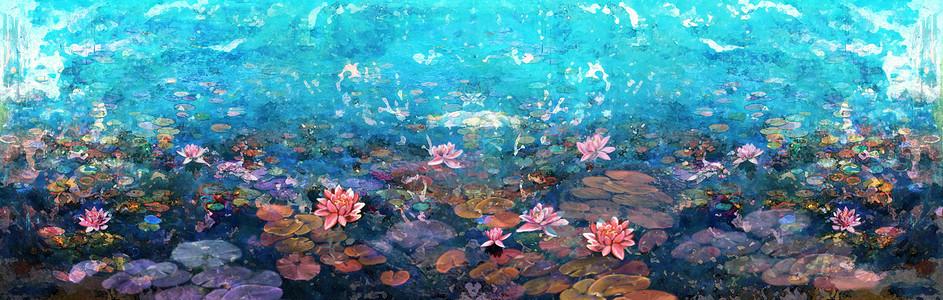 湖水花卉背景图片
