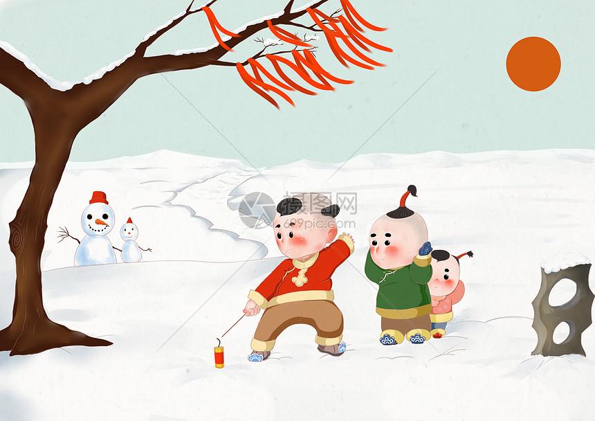 Q版春节传统习俗插画放鞭炮图片