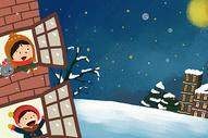 冬季雪景小清新唯美插画图片