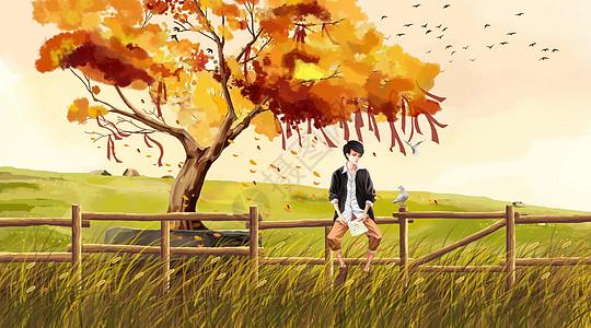 许愿树下学习的男孩图片