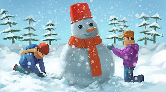堆雪人的两个孩子图片