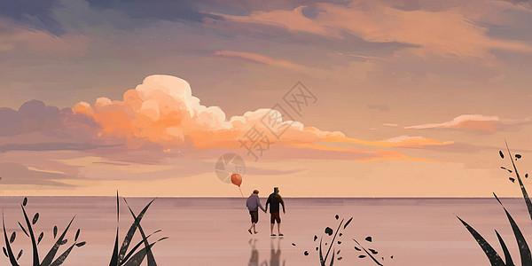 云海浪漫情侣插画图片