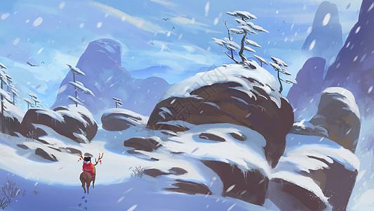 雪山中的娃娃图片