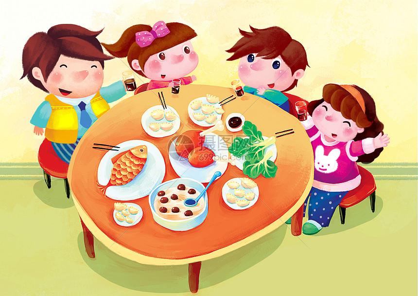 新春团圆饭图片