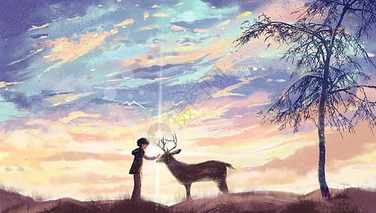 少年和鹿唯美相遇图片