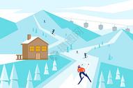冬日滑雪背景插画图片