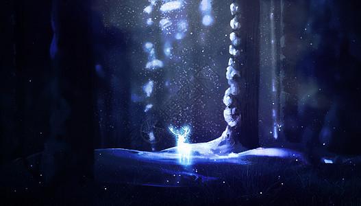 迷幻森林与麋鹿图片