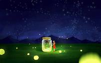 夜晚抓萤火虫图片