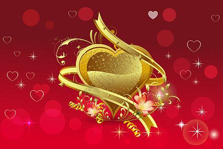 金色心形印花矢量图图片