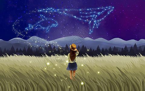 眺望星空的女孩图片