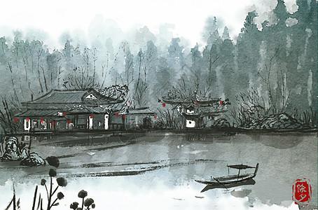 除夕湖边上的屋子图片