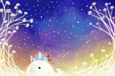 冬季星空小清新唯美插画图片