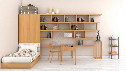 简约清新书房卧室室内家居背景图片