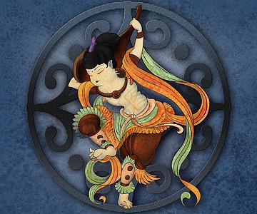 中国风敦煌莫高窟壁画手绘插画高清图片