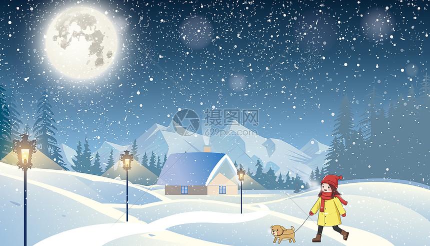 书中冬季下雪插画图片