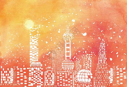 霓虹城市插画图片