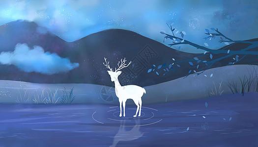 夜云之空,山中麋鹿,湖水景泮,影中消散。图片