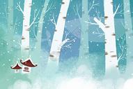 冬天鲸鱼小清新唯美插画图片