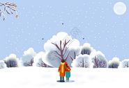 冬季情侣大雪中漫步图片