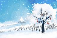 冬天小清新唯美场景插画图片