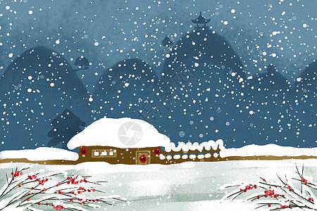 冬天小屋图片