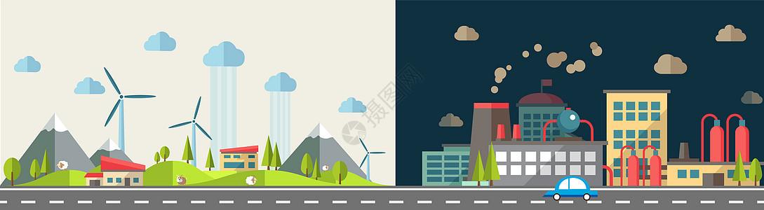 工业城市通向宁静小镇的公路图片