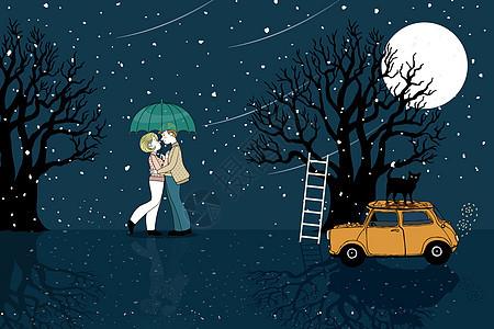 浪漫情侣风景插画图片
