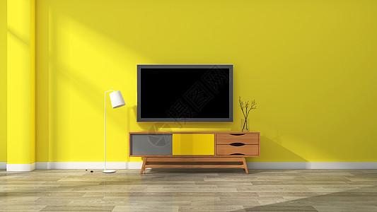 简约清新亮黄色电视柜客厅室内家居背景图片