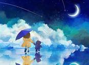 星空下孤独的小女孩图片