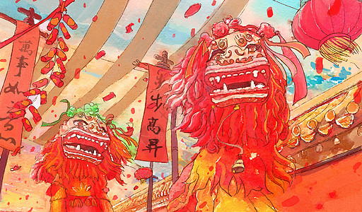 春节过年舞狮子图片