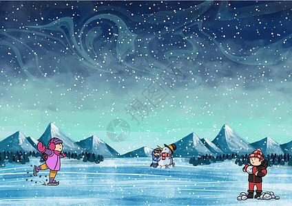孩子们在雪天玩耍图片