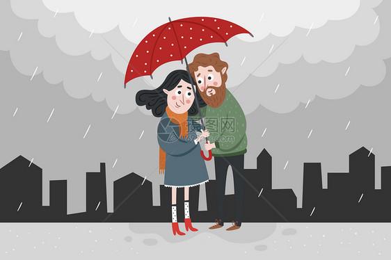 冬日情侣温馨插画图片