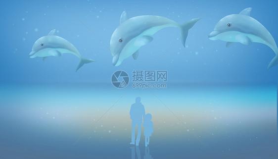 亲子梦幻海豚插画图片